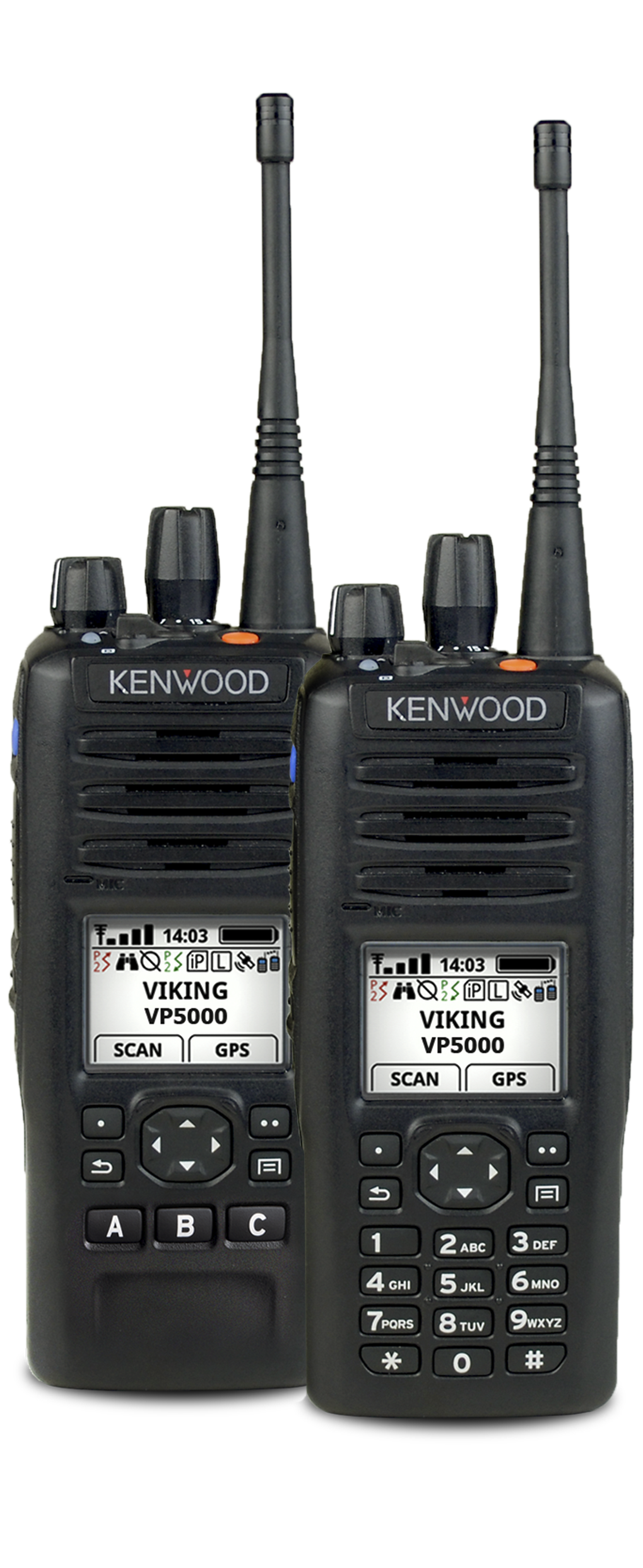 All Back 2 different versions of VP5000 Portable Radios
